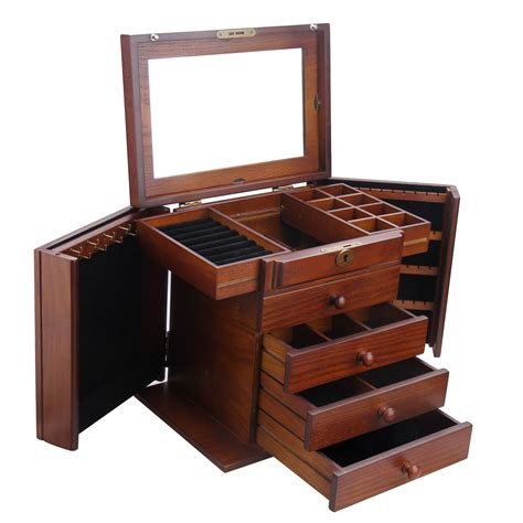 armoire jewelry box wood jewelry box case armoire cabinet ring necklace
