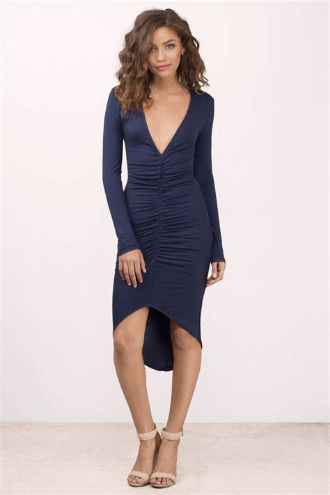Dress Navy navy midi dress blue dress high low dress 38 00