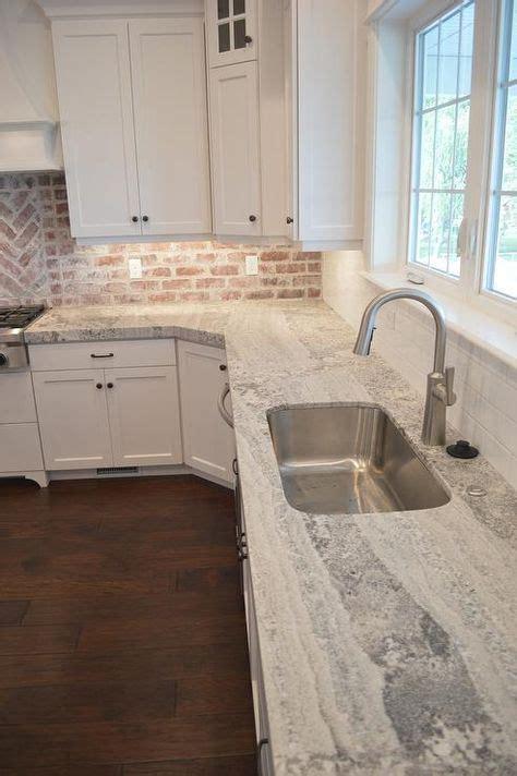 gray kitchen gray kitchen cabinet with brick backsplash