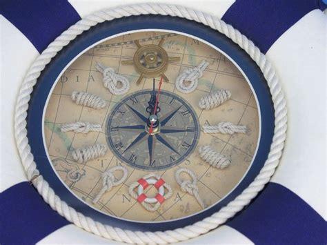 clock ring themes blue lifering clock 12 quot life ring decor nautical wall