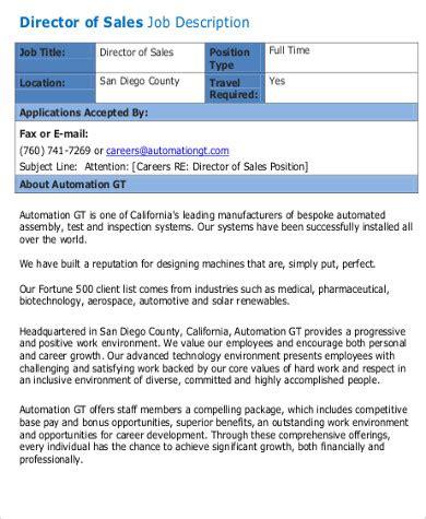sales director description sales director description sle 10 exles in