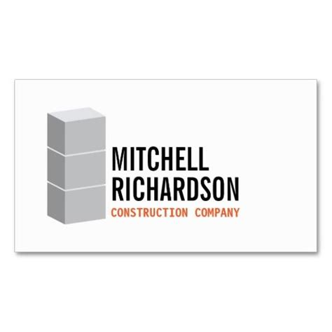 Concrete Business Cards Templates by Gray Blocks Logo Construction Builder Contractor Business