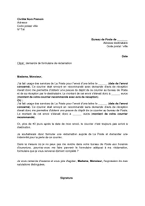 Modèles De Lettre Recommandée Lettre De Demande De Formulaire De R 233 Clamation Pour Perte