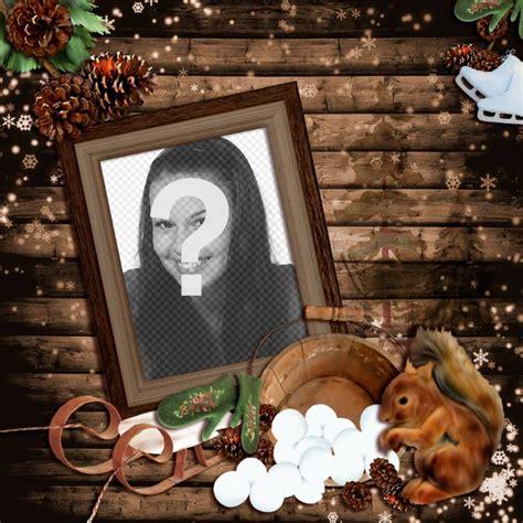 fare una cornice in legno fotomontaggio di inverno con una cornice di legno decorato