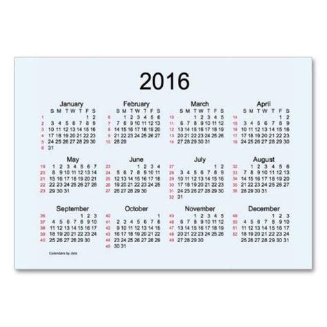 52 Week Calendar 52 Week Calendar 2016 Business Cards Zazzle Calendars