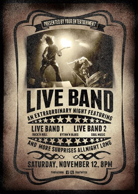 band templates 12 concert flyer template free images concert