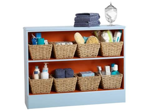 storage with decorative baskets hgtv how to update a bookcase for bathroom storage hgtv