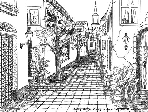 the street art colouring 1909855901 street perspective drawing www imgkid com the image kid has it
