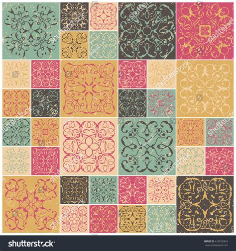 patchwork design colorful square tiles with floral