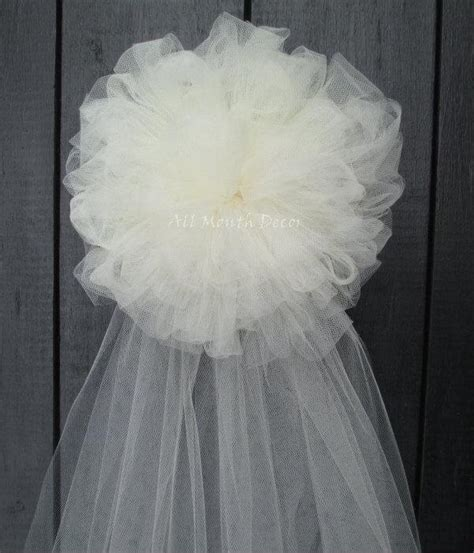 Wedding Aisle Bows by Tulle Half Pom Wedding Pew Bow White Ivory Church Aisle