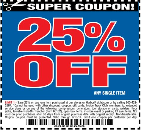 harbor freight coupons 20 off printable harbor freight free item coupon 25 off coupon 2015