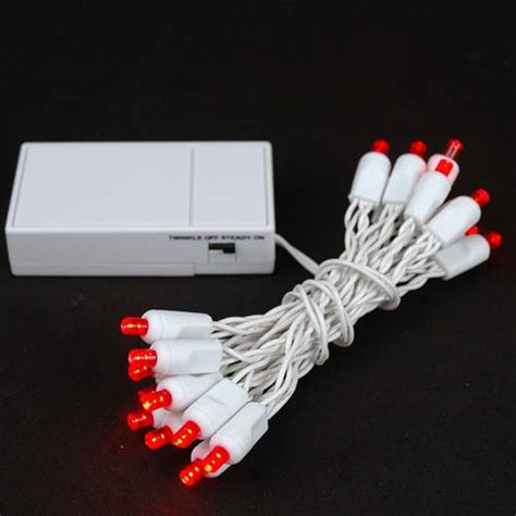 20 led battery operated christmas lights red on white wire