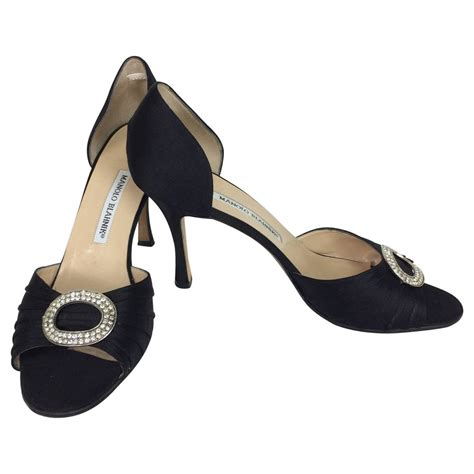 manolo high heels manolo blahnik black silk rhinestone buckle open toe d