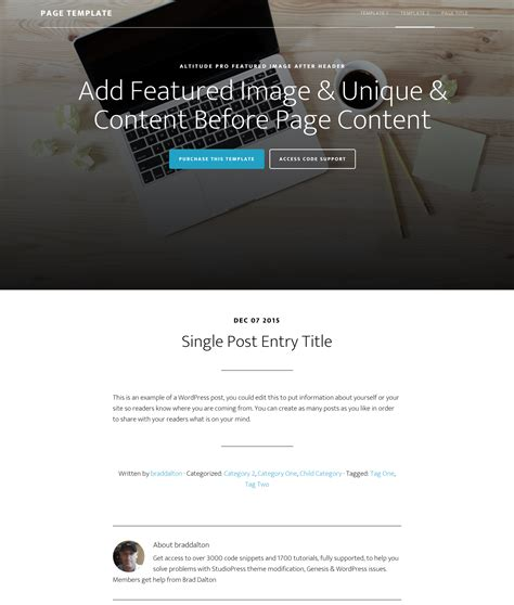 single post page template altitude pro template with featured section like front page 1