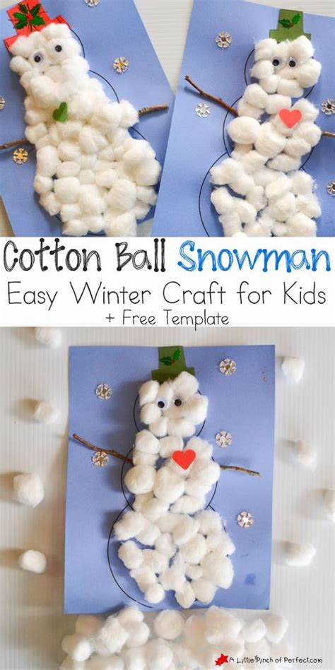cotton ball snowman printable template cotton ball snowman easy winter craft for kids includes