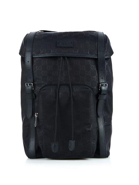 Backpack Guccl Gg Monogram 6317 lyst gucci monogram gg backpack in black for