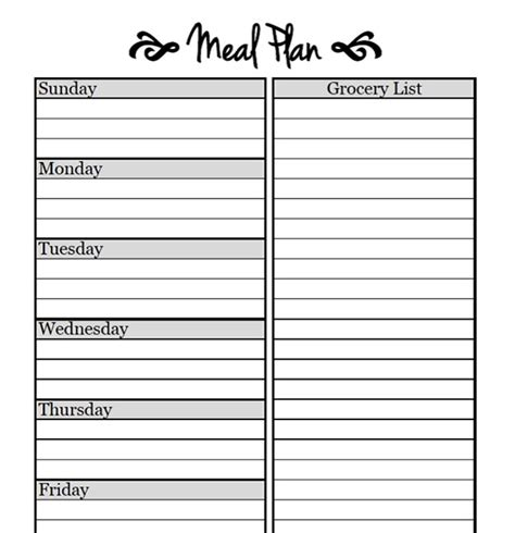 printable meal planner sheets weekly meal planner template tryprodermagenix org
