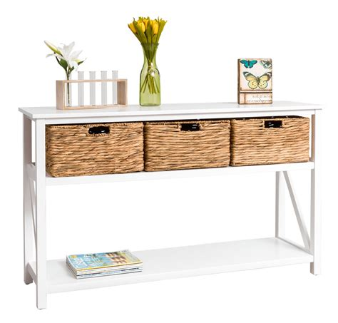 white wicker sofa table furniture white wooden console table with mirrored drawer
