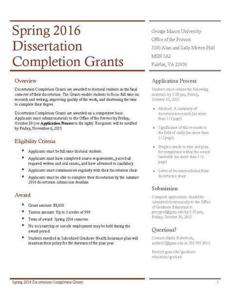 dissertation writing fellowship dissertation completion awards