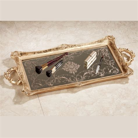 Vanity Trays by Letitia Gold Finish Mirrored Vanity Tray