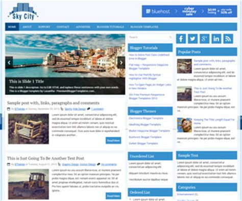 blogger themes gallery skycity responsive blogger template blogger templates