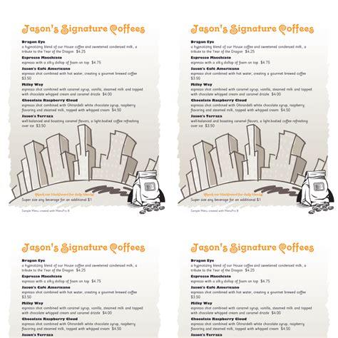 design sles from menupro menu software more than just restaurant table tent menu design brokeasshome com