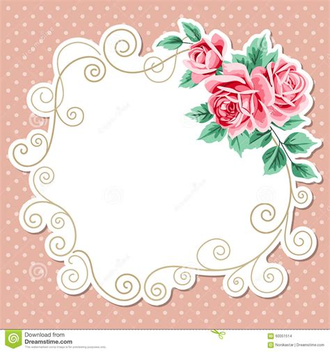 shabby chic gift card template polka dot background with roses stock vector image 60051514