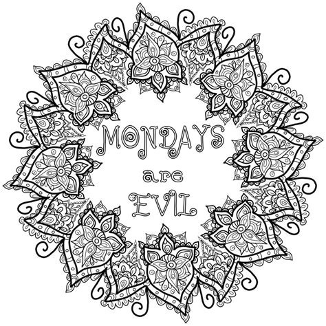 Free Colouring Page   Mondays are Evil by WelshPixie on