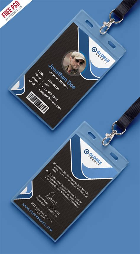 card templates psd behance free psd multipurpose office id card template on