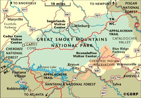 smoky mountains tennessee map the great smoky mountains national park in nc tn blue