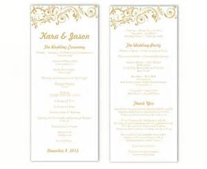 program template for wedding wedding program template diy editable word file instant program gold wedding program