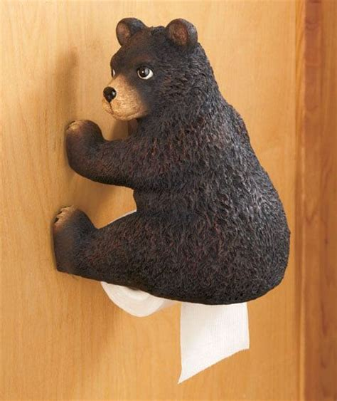 bear bathroom bear woodland booty toilet paper holder log cabin lodge