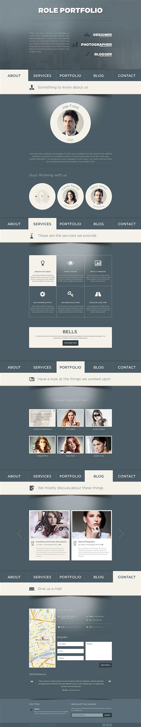themeforest veda role one page portfolio psd template on behance