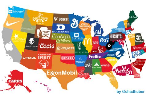 us map by brand the corporate states of america states and their