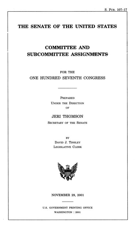 committee and subcommittee assignments for the 107th