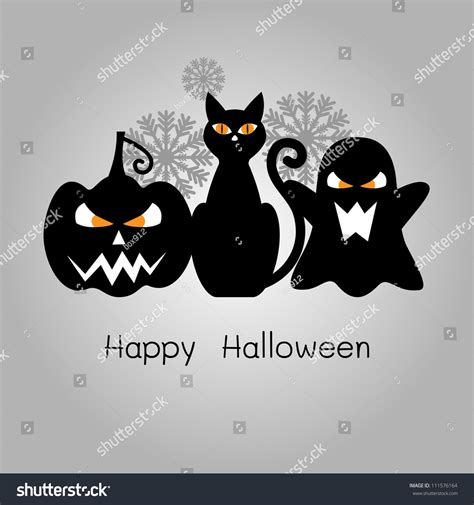 happy halloween card black cat pumpkin stock illustration