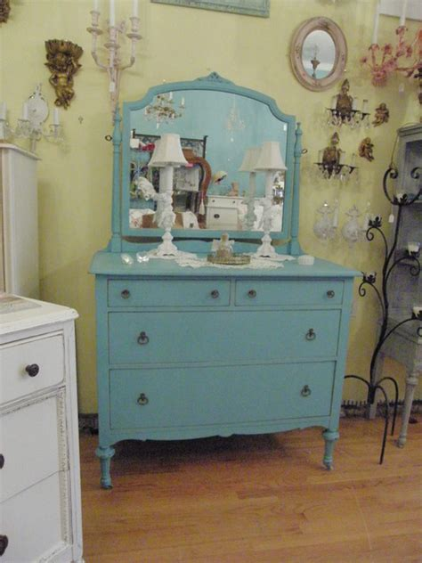 antique dresser aqua turquoise blue shabby chic distressed
