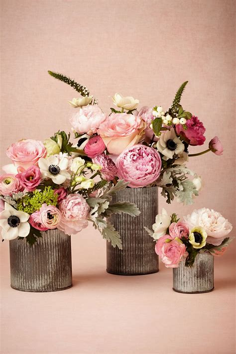 Wedding Decor Flower by Ridged Tin Vases In New D 233 Cor At Bhldn Wedding Flowers