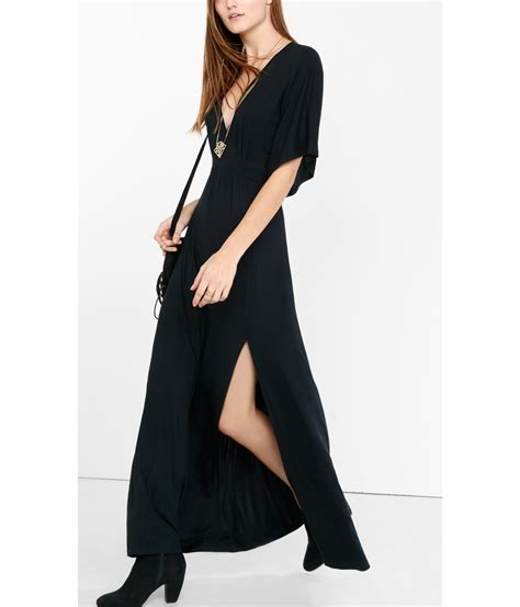 Maxi Modena Wash lyst express black kimono sleeve maxi dress in black