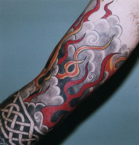 flame tattoo sleeve designs japanese on sleeve busbones