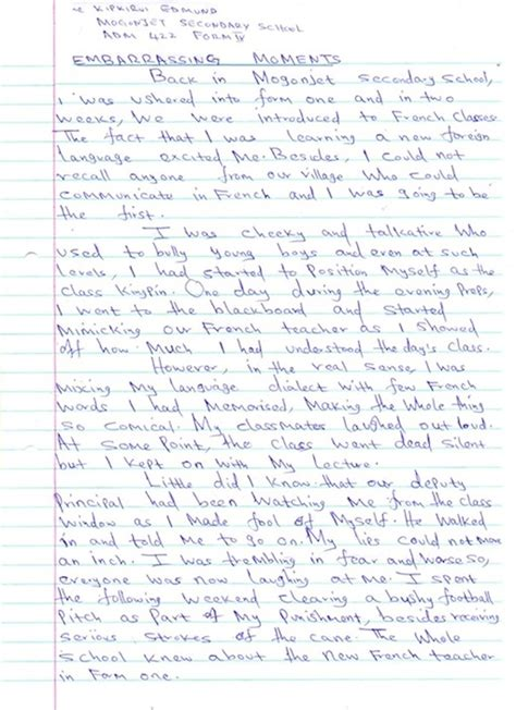 Memorable Moments Essay by Embarrassing Moments By Edmund Kipkirvi