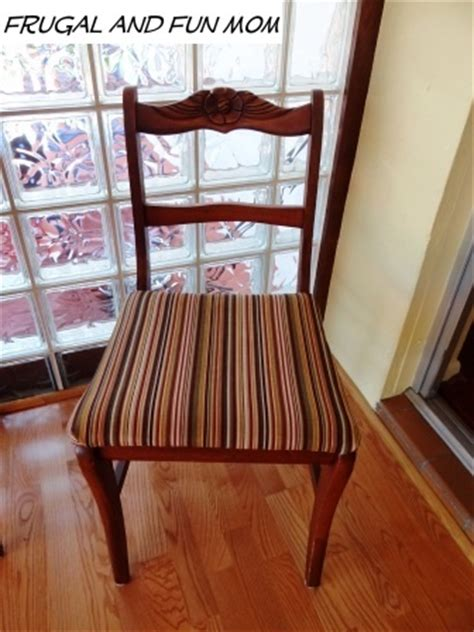 Dining Room Chairs Recovered My 4 Chairs Got A Makeover With Fabric And I Only Spent 9 00 Diy Frugal Living Idea