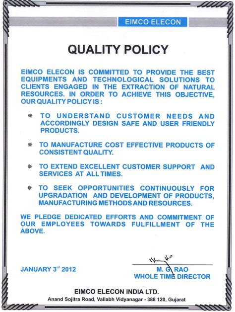 template of quality policy iso 9001 quality policy exles related keywords suggestions iso 9001 quality policy
