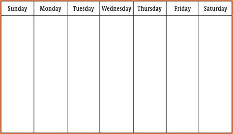 blank calendar template 5 day week