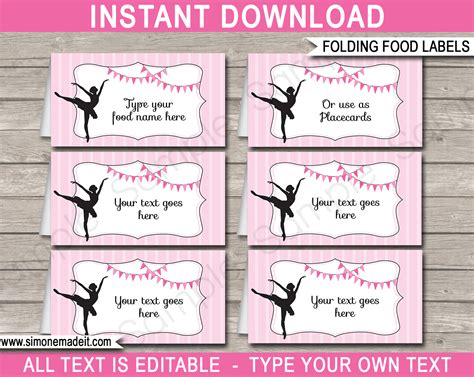 Food Label Place Card Templates by Ballerina Food Labels Place Cards Ballerina