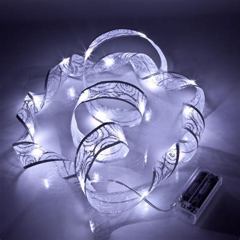 silver christmas ribbon led lights