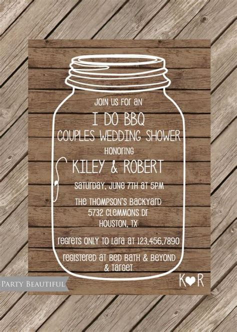 free jar wedding invitation printable templates couples or coed wedding shower invitation rustic i do bbq