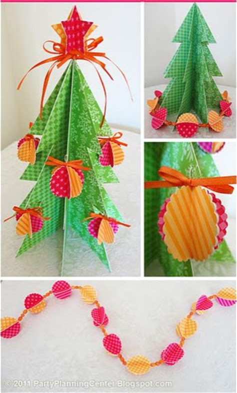 free download for 3d paper christmas tree craft project