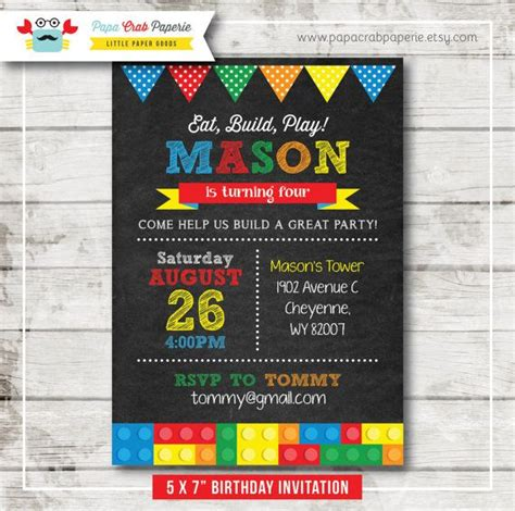 printable lego invitation cards building blocks lego inspired chalkboard birthday party