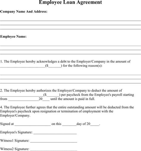 Employee Loan Agreement Templates Forms Pinterest Employee Repayment Agreement Template